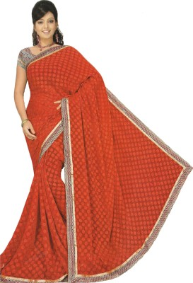Devaansh Prints Printed, Embellished, Self Design Fashion Georgette Sari