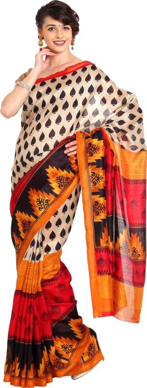 Aryahi Printed Fashion Art Silk Saree(Beige)