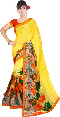 Anu Clothing Printed Daily Wear Chiffon Sari