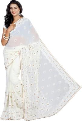 Fabfirki Fashion Hub Embriodered Fashion Chiffon Sari