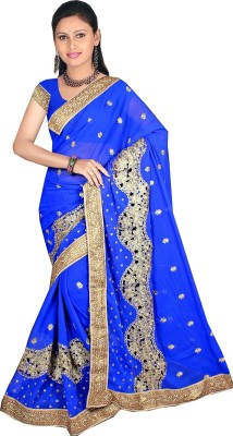 SARIMANIA Embriodered Bandhej Georgette Sari