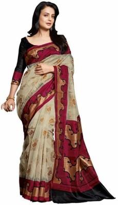 West Turn Printed Bhagalpuri Handloom Poly Silk Sari