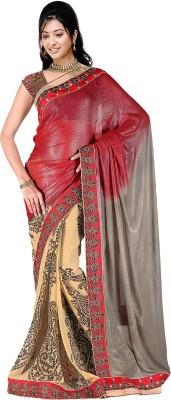 Pbs Prints Self Design, Solid Bollywood Georgette Sari
