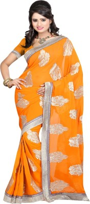 Sanju Sarees Embroidered Fashion Georgette Saree(Yellow) at flipkart
