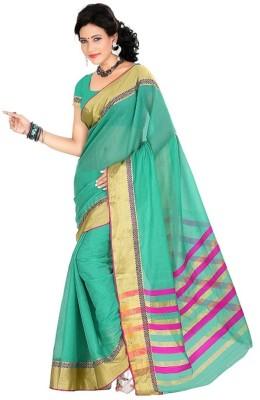 Harsh Sarees Solid Venkatagiri Cotton Sari(Green)