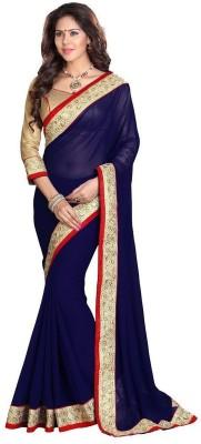 Palav Creation Solid Fashion Handloom Georgette Sari