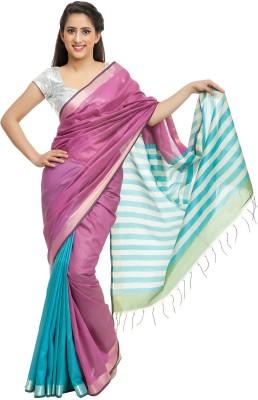 Elite Handicrafts Striped Bhagalpuri Handloom Silk Cotton Blend Sari