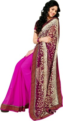 Style Merger Printed Fashion Georgette Sari