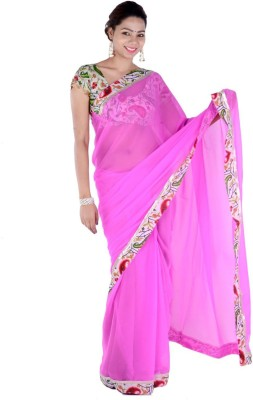 Bashii Solid, Floral Print Bollywood Georgette, Cotton Sari