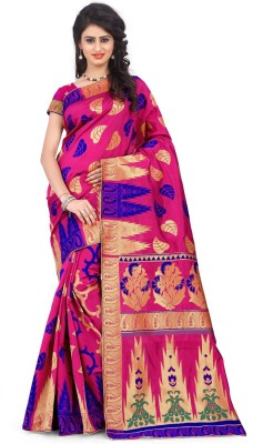 Silvermoon Self Design Banarasi Polycotton, Jacquard Sari(Multicolor)