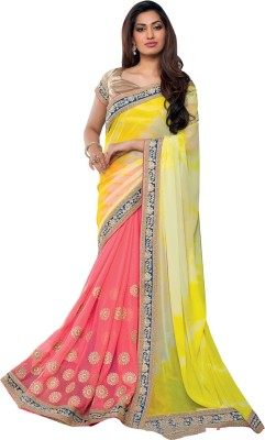 Recrafto Embriodered Fashion Chiffon Sari
