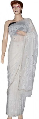My Dress Kart Embriodered Lucknow Chikankari Pure Georgette Sari