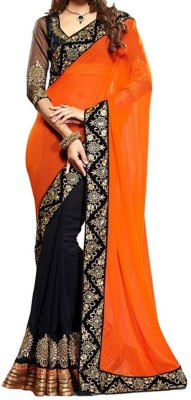 Fabkharidi Self Design Fashion Georgette Sari