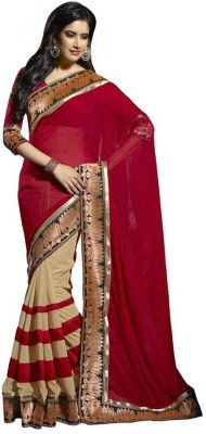 KHUSHALI COLLECTION Embriodered Bollywood Handloom Dupion Silk Sari