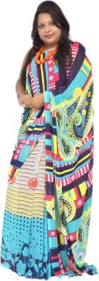 Gulmohaar Geometric Print, Printed Bollywood Synthetic Georgette Sari