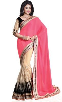 Style Merger Embriodered Fashion Chiffon Sari