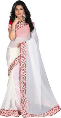 STARLIGHT CLUB Embroidered Fashion Georgette Sari(White)