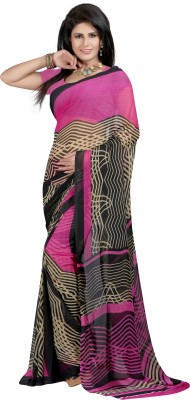 ZofeyFashion Printed, Striped Fashion Georgette Sari