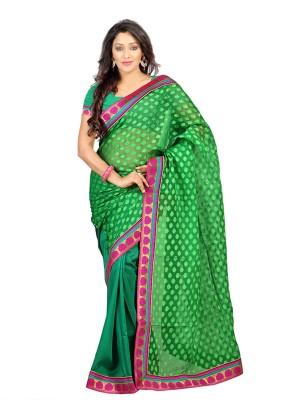 Idecore Polka Print Bollywood Chiffon Sari