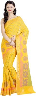 Chandrakala Self Design Banarasi Silk Cotton Blend Saree(Yellow) at flipkart