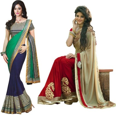 MA Solid Fashion Georgette, Georgette Sari