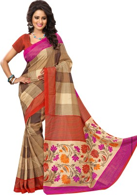 Urban Vastra Checkered Fashion Raw Silk Sari