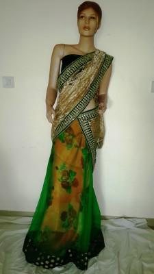 Hanis Floral Print Lehenga Saree Handloom Net, Georgette Sari