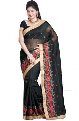 Glad2baWoman Floral Print, Woven, Self Design Bomkai Net Sari