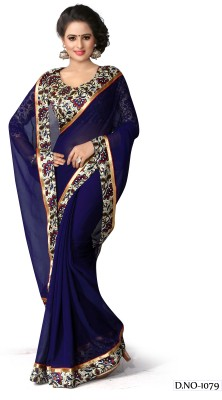 Itmella Plain Fashion Marble Padding Sari