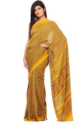 365 Labels Printed Daily Wear Crepe Sari