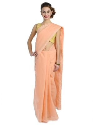 Wisegirls Self Design Lucknow Chikankari Cotton Sari