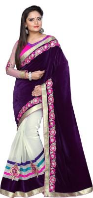 Sansaar Embellished Bollywood Net, Velvet Sari