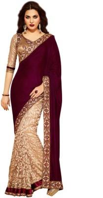 FabPandora Embroidered Bollywood Velvet Saree(Maroon)