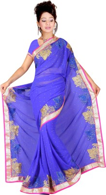 G-Tex Prints Embriodered Bollywood Georgette Sari