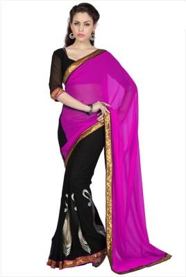 Monika Silk Mill Plain Daily Wear Chiffon Sari