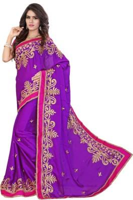 Jhenny Fabrics Embriodered Fashion Handloom Chiffon Sari