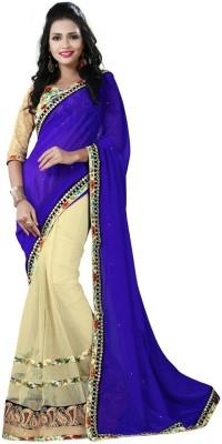 Nayra Fashion Solid, Embellished, Self Design Fashion Georgette, Net Sari
