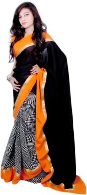 Aifaa Checkered Fashion Crepe, Chiffon Sari