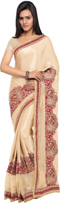 Four Seasons Embellished Fashion Satin Saree(Beige) at flipkart