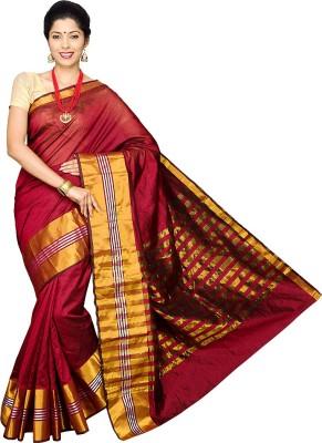 Pavechas Solid Banarasi Silk Cotton Blend Sari