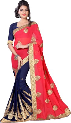 Oomph! Embroidered Fashion Georgette Saree(Multicolor) at flipkart