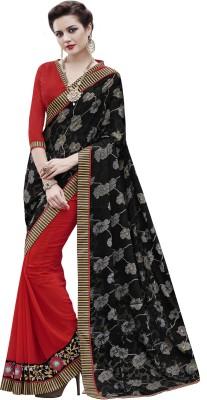Hitansh Fashion Embriodered Fashion Georgette, Brasso Sari