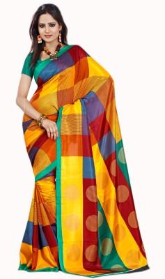 Purple Boat Checkered Fashion Silk Cotton Blend Sari