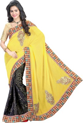 V Star Self Design Fashion Brasso Sari