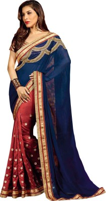 Nairiti Fashions Embriodered Fashion Georgette Sari
