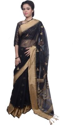 Tanjinas Woven, Geometric Print Tangail Handloom Cotton Sari