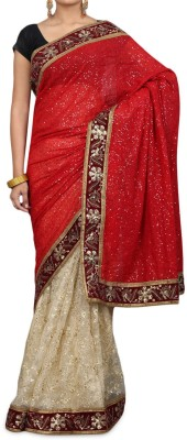 Parmar Design Embriodered Bollywood Net, Pure Georgette Sari