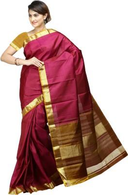 Aruna Sarees Solid Kanjivaram Handloom Pure Silk Sari