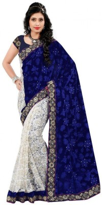 UMA TRADERS Embriodered Fashion Velvet Sari