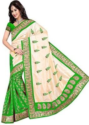 SHRI SAREES Embriodered Assam Silk Handloom Dupion Silk Sari
